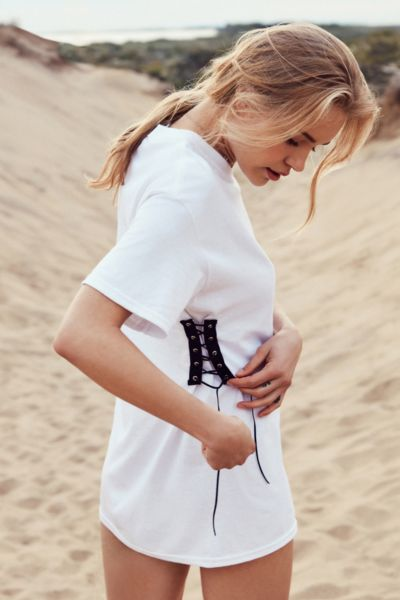 Urban Renewal Recycled Lace-Up Side Corset Tee - White S at Urban Outfitters