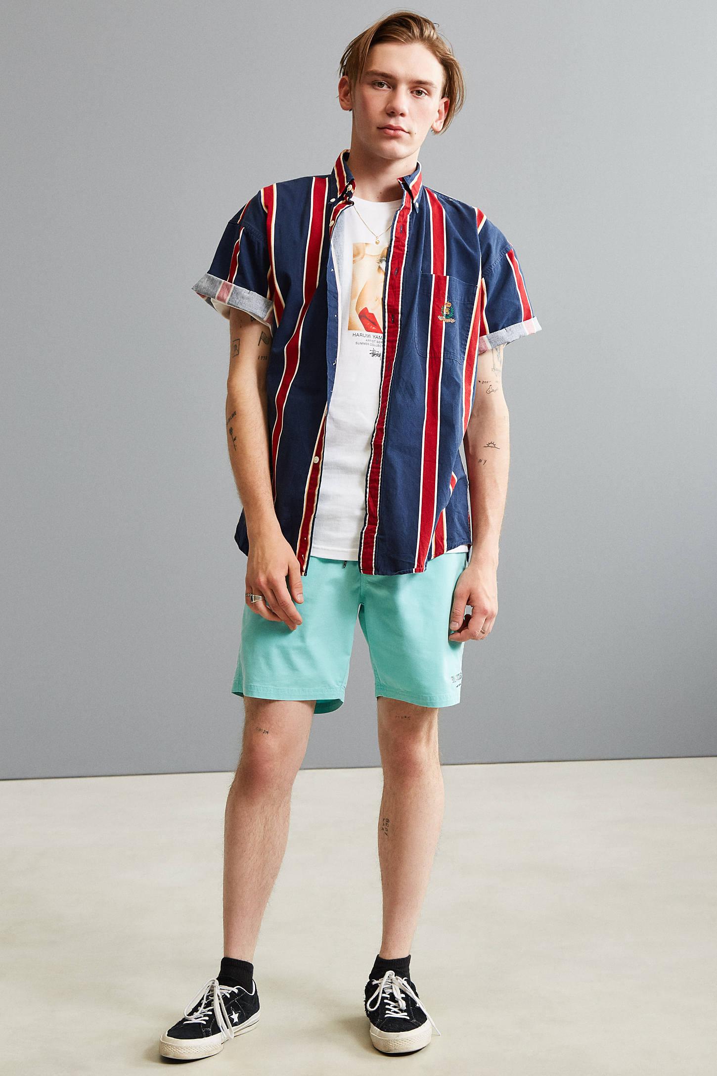 Vintage '90s Vertical Stripe Short Sleeve Button-Down Shirt ...