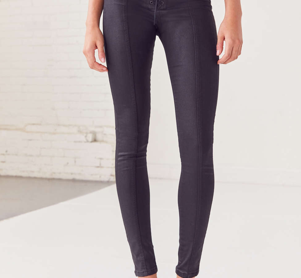 Slide View: 4: BDG Twig High-Rise Skinny Jean – Lace Up Black