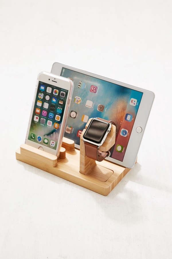 Slide View: 1: Wooden Multi-Device Charging Dock