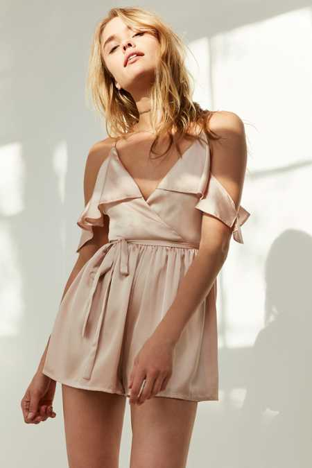 Oh My Love Satin Cold-Shoulder Ruffle Romper