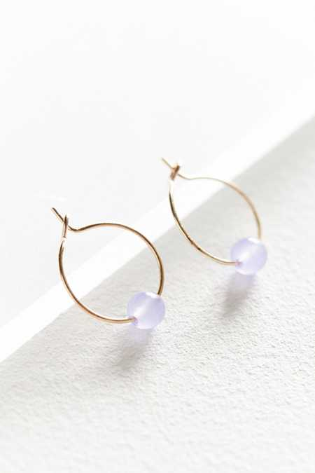 Pop Genuine Stone Hoop Earring