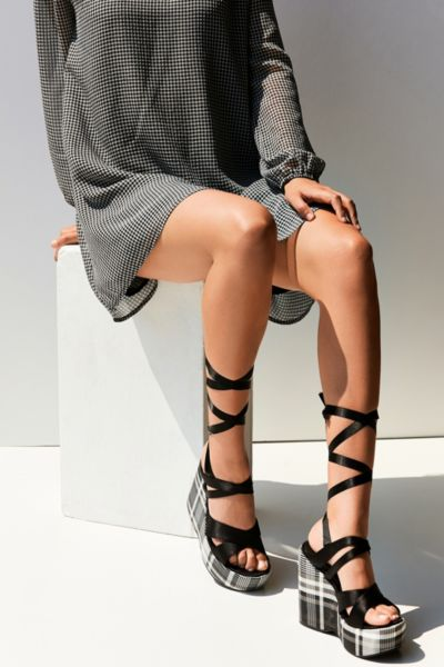 Intentionally Blank Classified Plaid Platform Sandal - Black 6. at Urban Outfitters