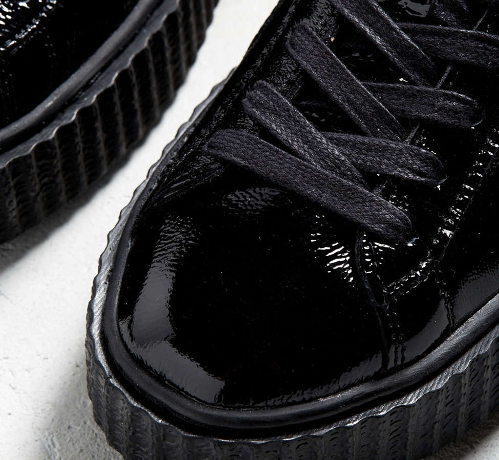 Slide View: 3: Puma Fenty By Rihanna Mens Cracked Leather Creeper Sneaker