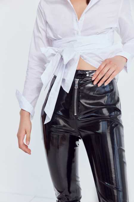 Silence + Noise Glossy High-Rise Zip Pant