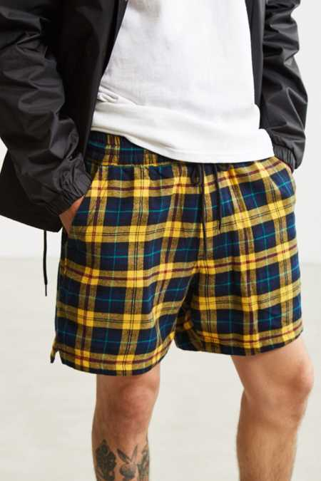 UO Plaid Cotton Flannel Volley Short