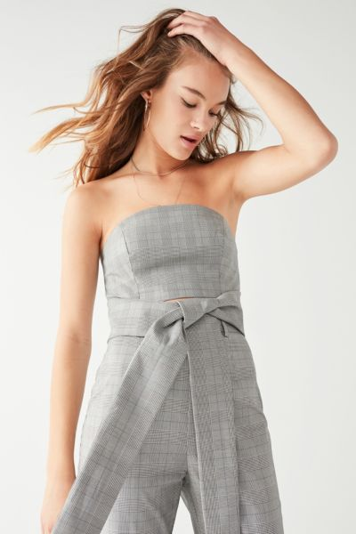 C/meo Collective Checkered Tube Top - Grey XS at Urban Outfitters