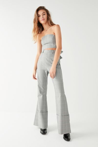 C/meo Collective Checkered Flare Pant - Grey XS at Urban Outfitters