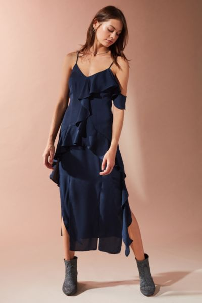 Keepsake Love Bound Ruffle Midi Dress - Navy XS at Urban Outfitters