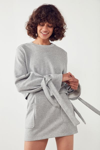 J.O.A. Crew-Neck Tie-Sleeve Sweatshirt - Light Grey XS at Urban Outfitters