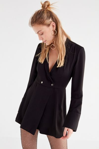 The Fifth Label Hollywood Collared Romper - Black Multi XS at Urban Outfitters