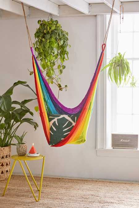 Yellow Leaf Rainbow Hammock Chair