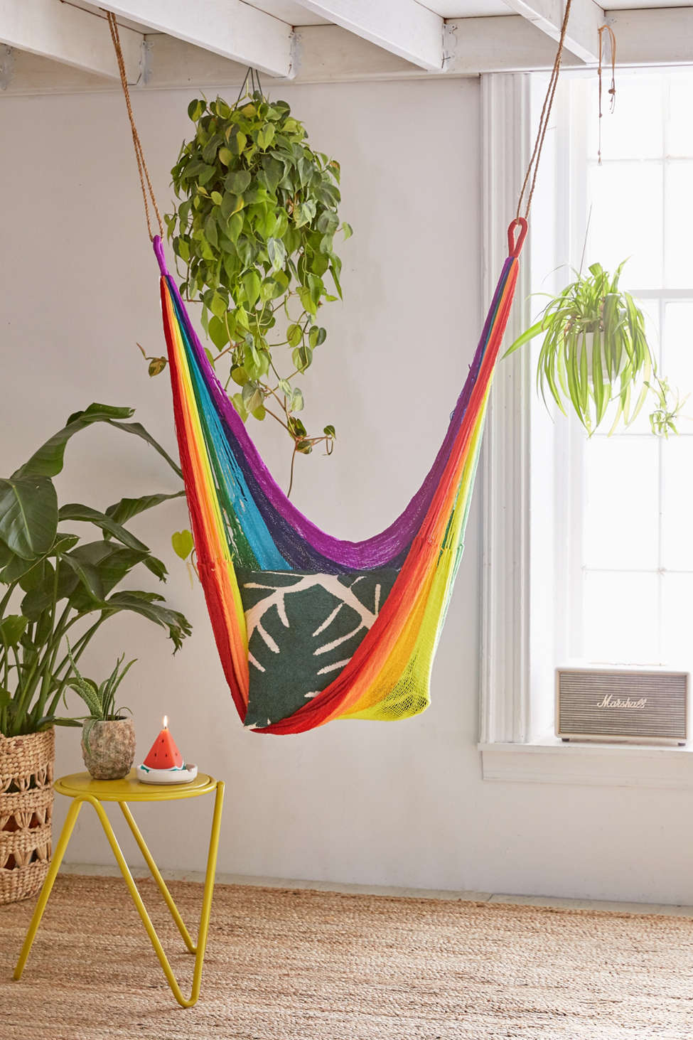 Slide View: 1: Yellow Leaf Rainbow Hammock Chair