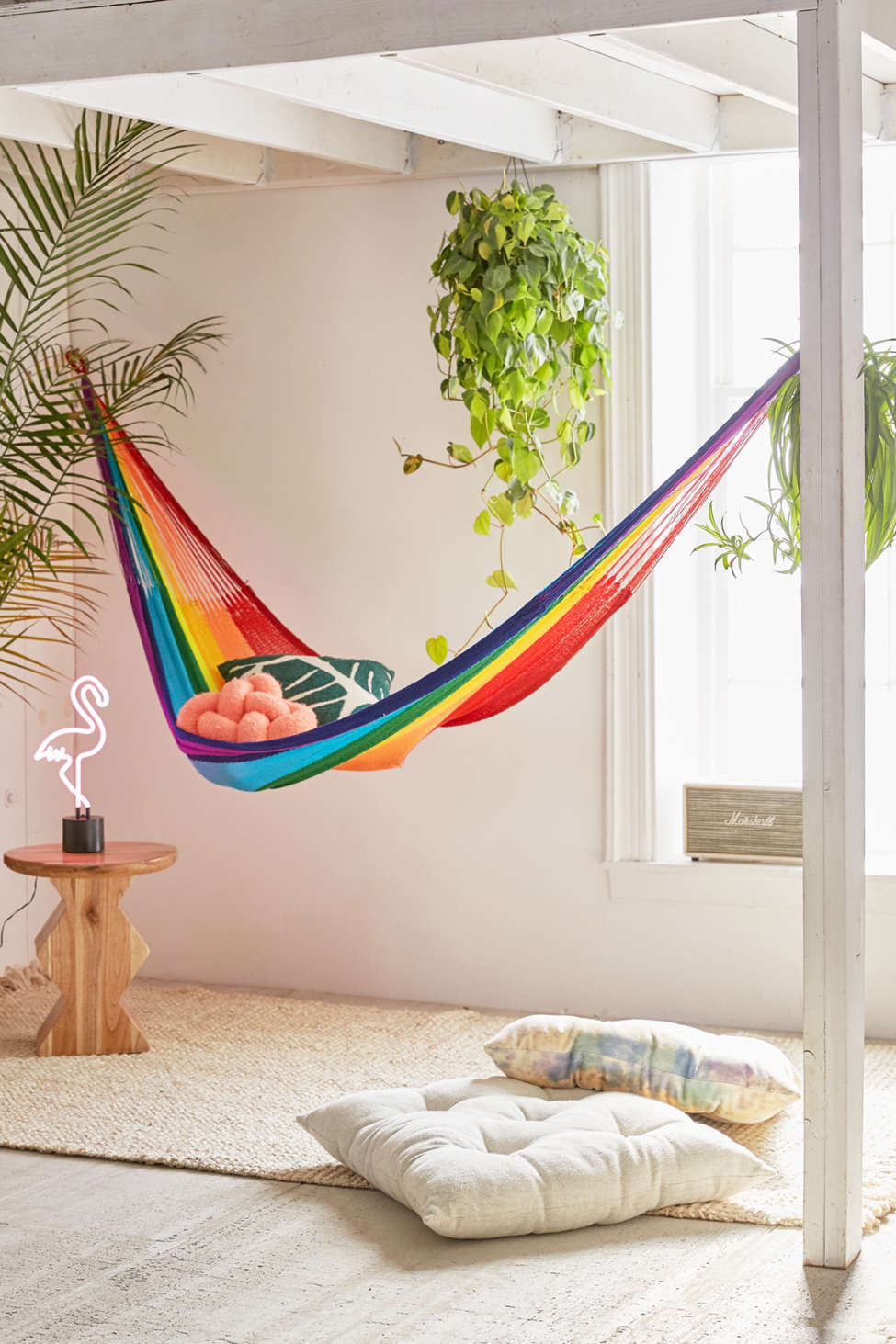 Slide View: 1: Yellow Leaf Rainbow Double Hammock