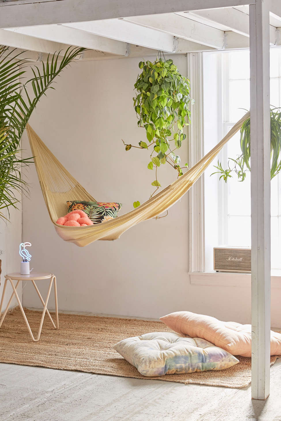 Slide View: 1: Yellow Leaf Natural Double Hammock