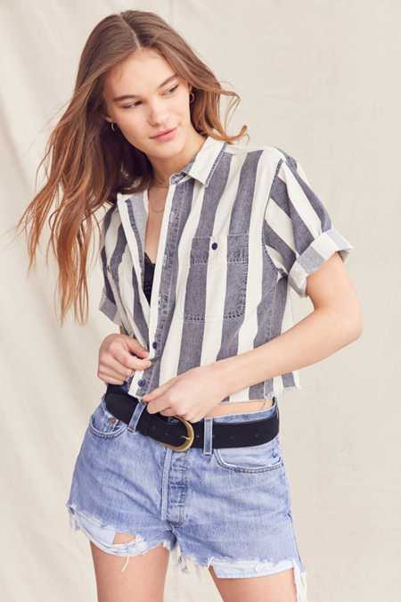 Vintage Striped Button-Down Cropped Shirt