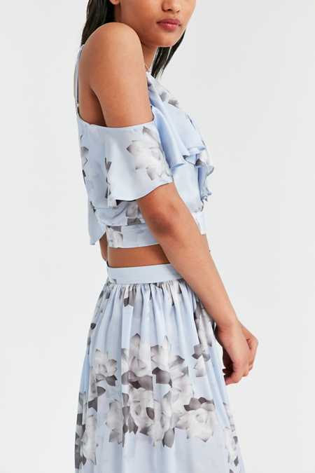 Oh My Love Tiarella Ruffled Cold-Shoulder Crop Top