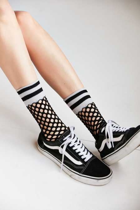 Out From Under Sporty Cuff Fishnet Crew Sock