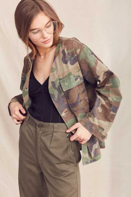 Urban Renewal Recycled Collarless Camo Surplus Jacket