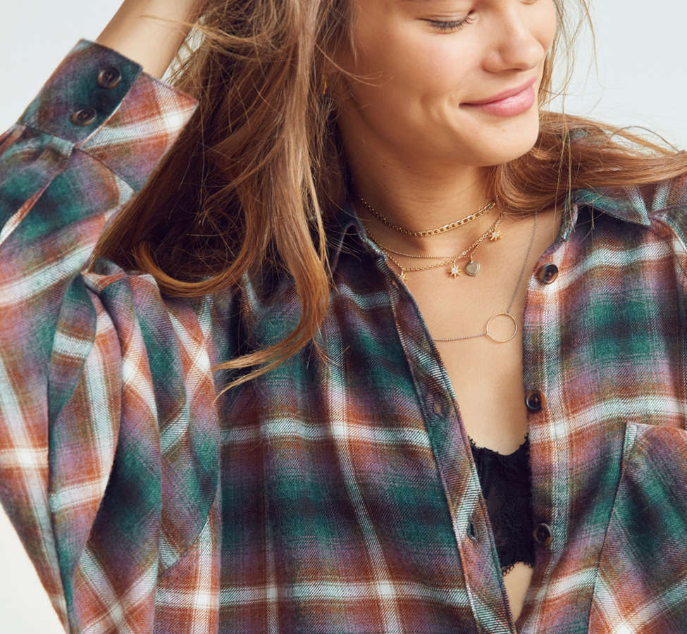 Slide View: 2: BDG Brendan Cozy Flannel Button-Down Shirt
