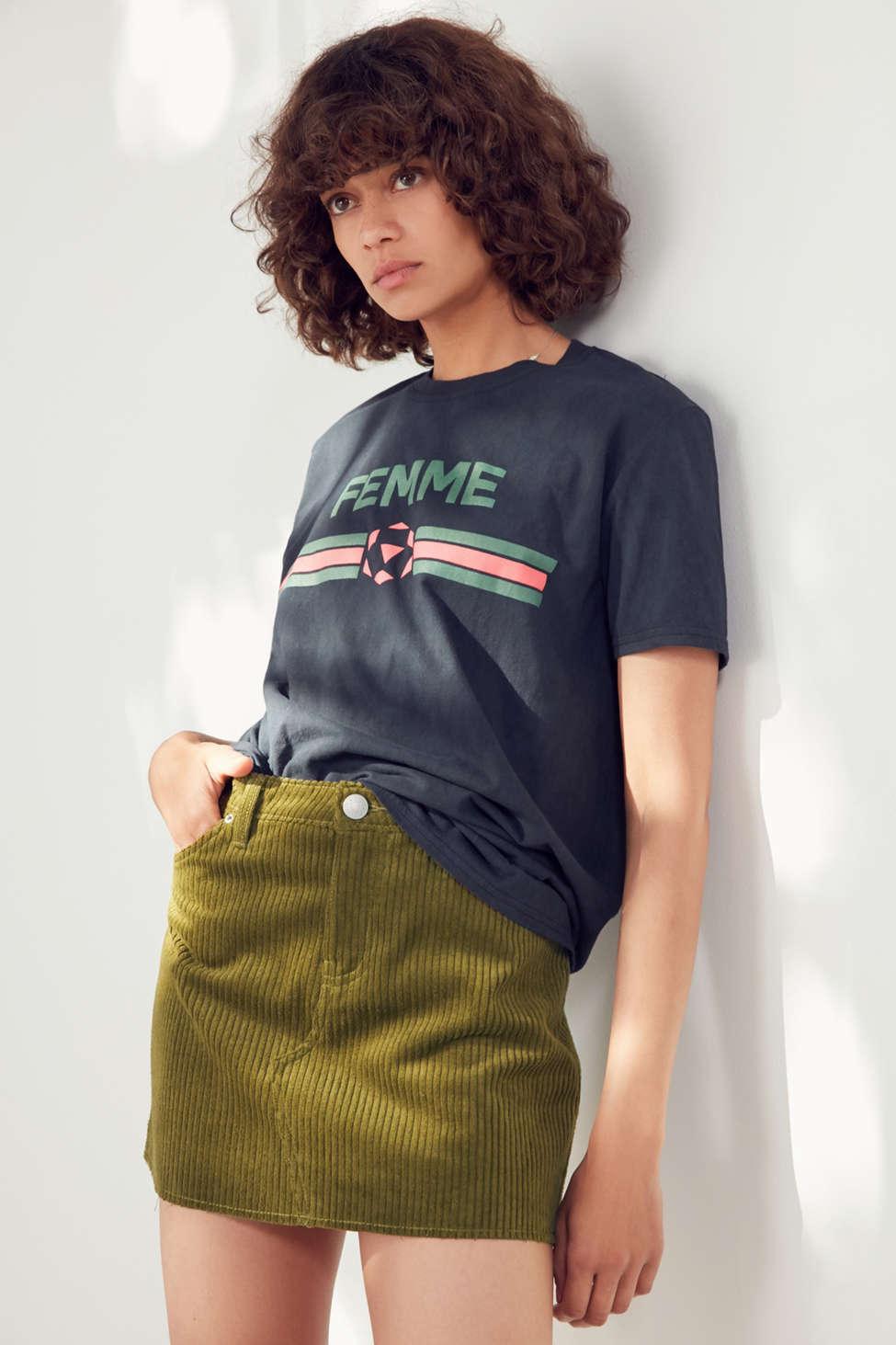 Slide View: 1: BDG Frayed Corduroy Mini Skirt