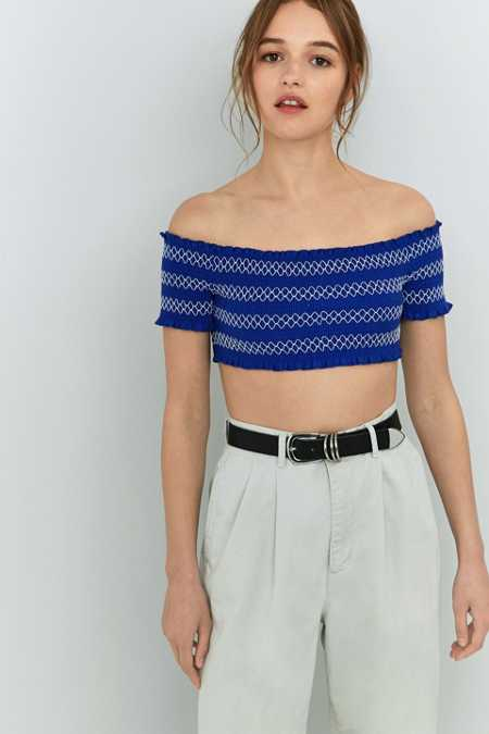 Pins And Needles Contrast Ruched Off-The-Shoulder Top