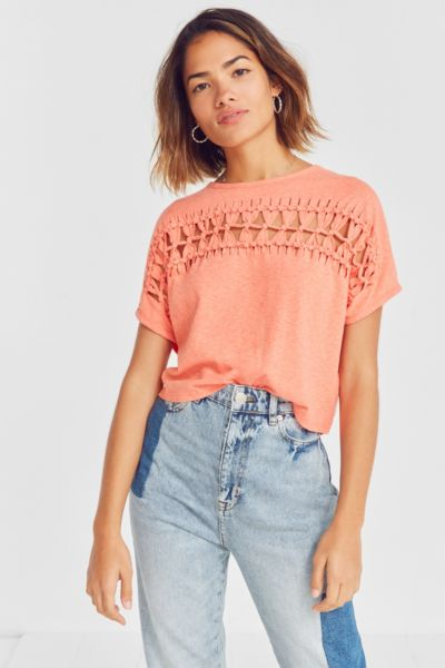 Light Before Dark Macrame Cropped Top - Red XS at Urban Outfitters