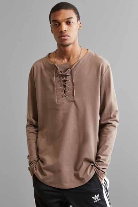 UO Julian Lace-Up Henley Long Sleeve Tee