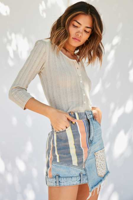BDG Striped Patchwork Denim Mini Skirt