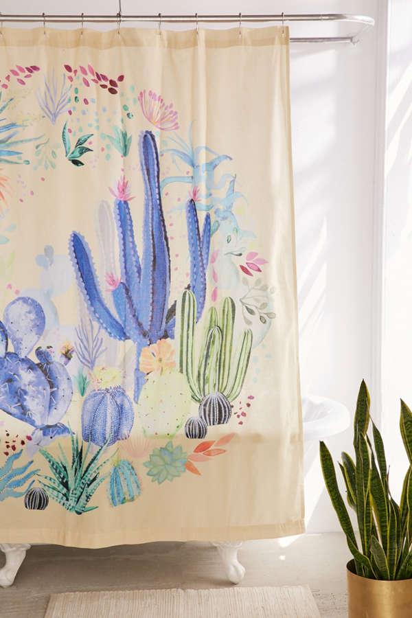 Cactus Terrarium Shower Curtain