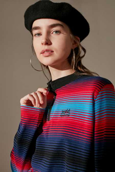 MadeMe/X-girl Striped Half-Zip Long Sleeve Top