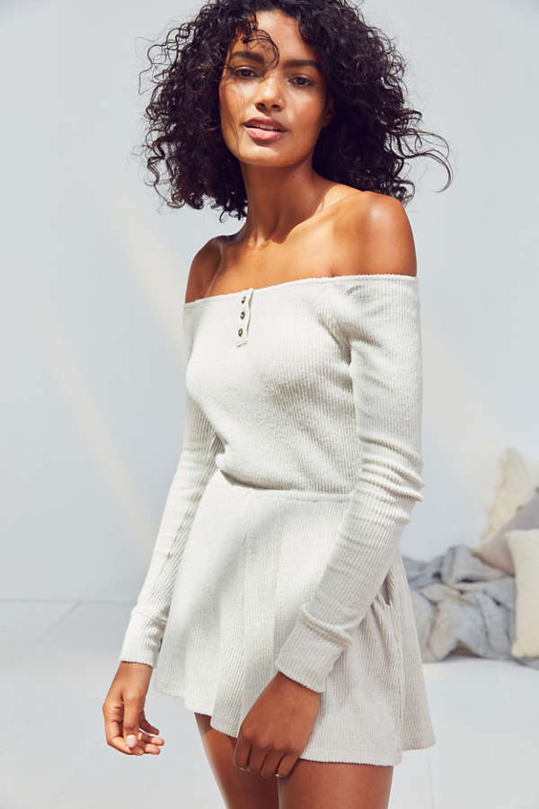 Out From Under Henderson Ribbed Off-The-Shoulder Romper