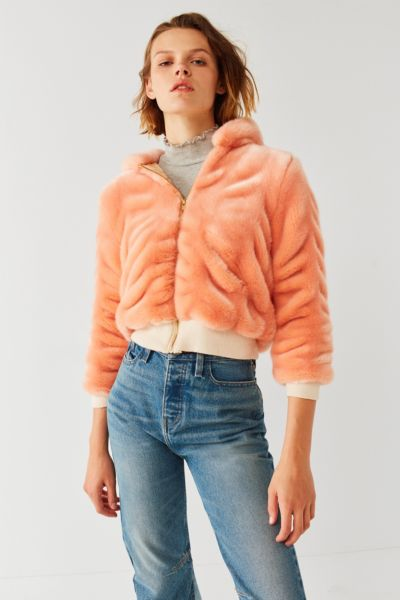 Lykke Wullf Faux Fur Bomber Jacket - Rose XS at Urban Outfitters