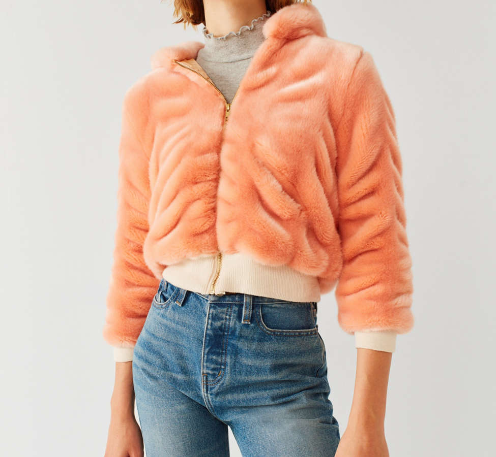 Slide View: 1: Lykke Wullf Faux Fur Bomber Jacket