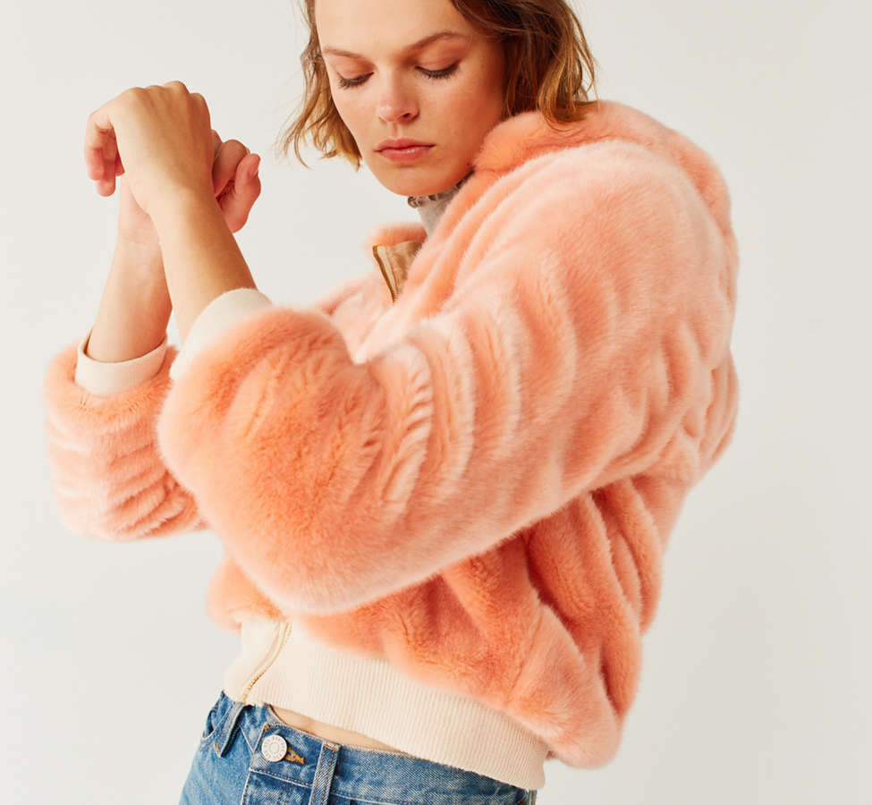 Slide View: 4: Lykke Wullf Faux Fur Bomber Jacket