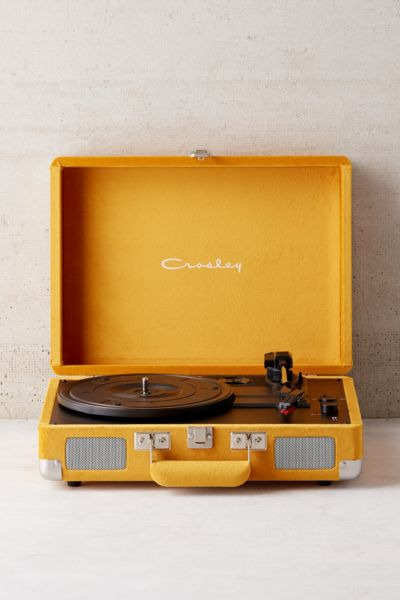 Crosley X UO Velvet Cruiser Bluetooth Record Player - Mustard One Size at Urban Outfitters