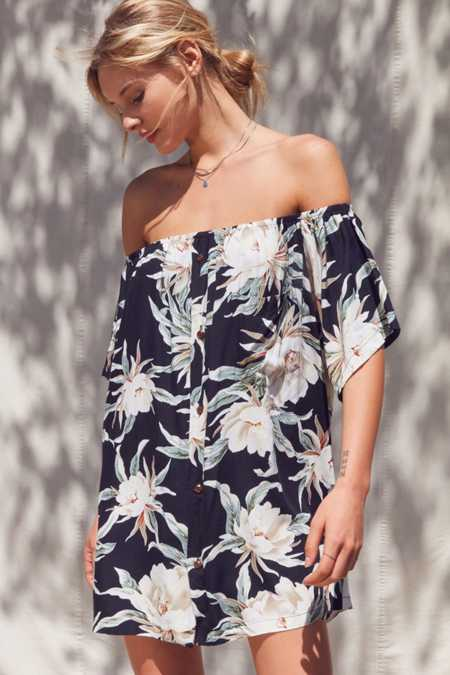 Urban Renewal Remade Tropical Print Off-The-Shoulder Dress