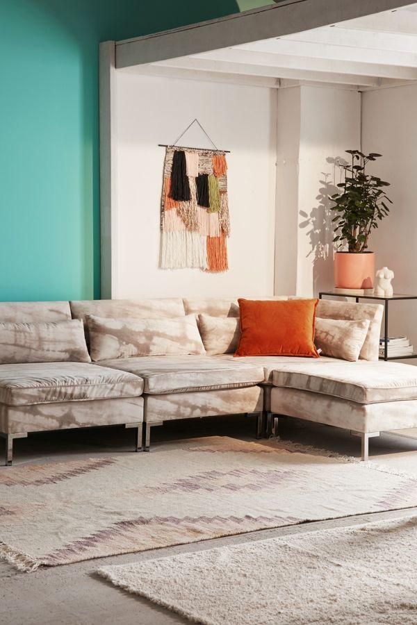 Slide View 1 Cecilia Printed Velvet Sectional Sofa