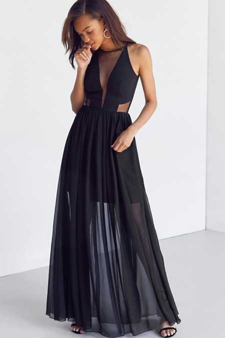 Dress the Population Claire Mesh Maxi Dress