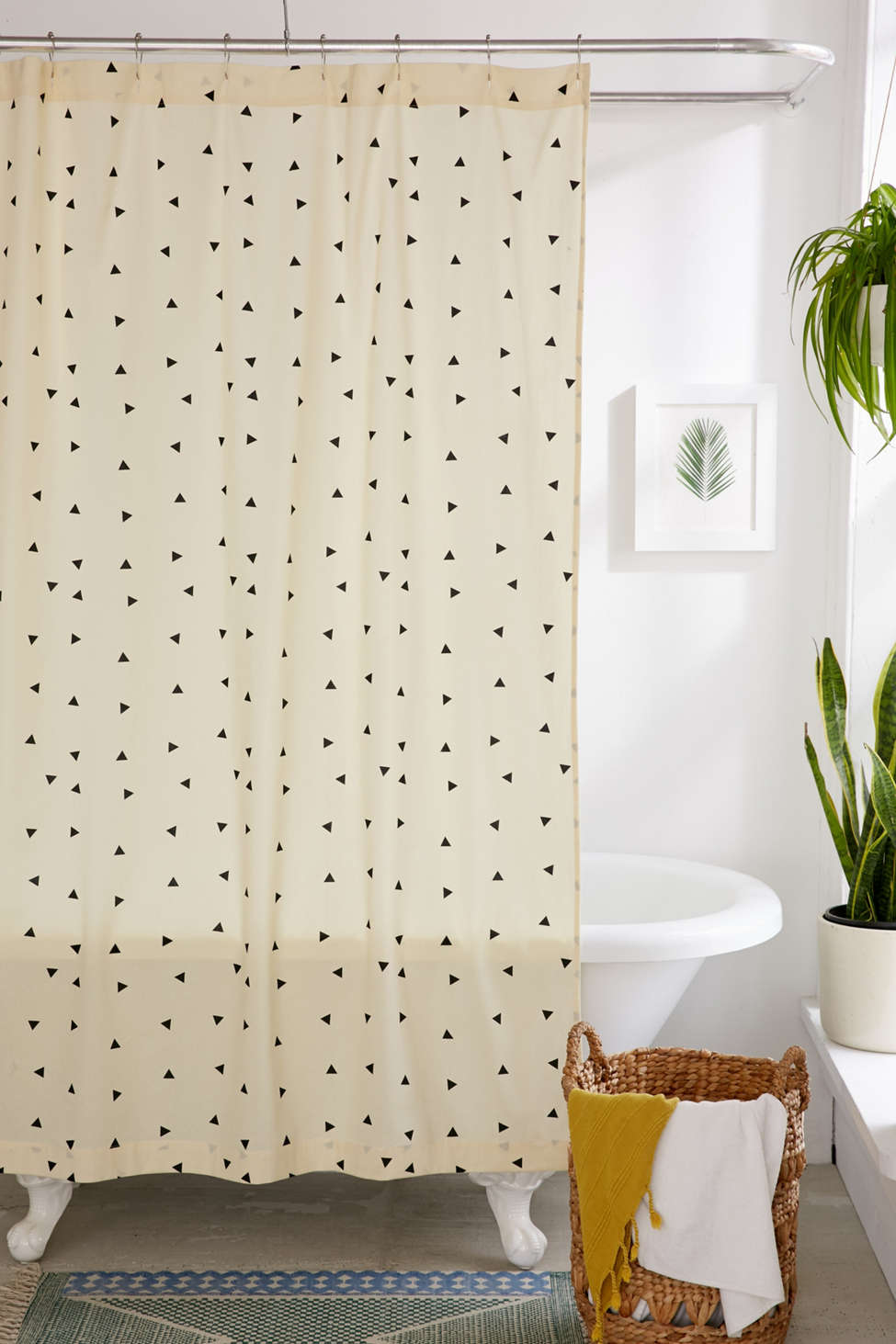 Slide View: 1: Scattered Triangle Shower Curtain