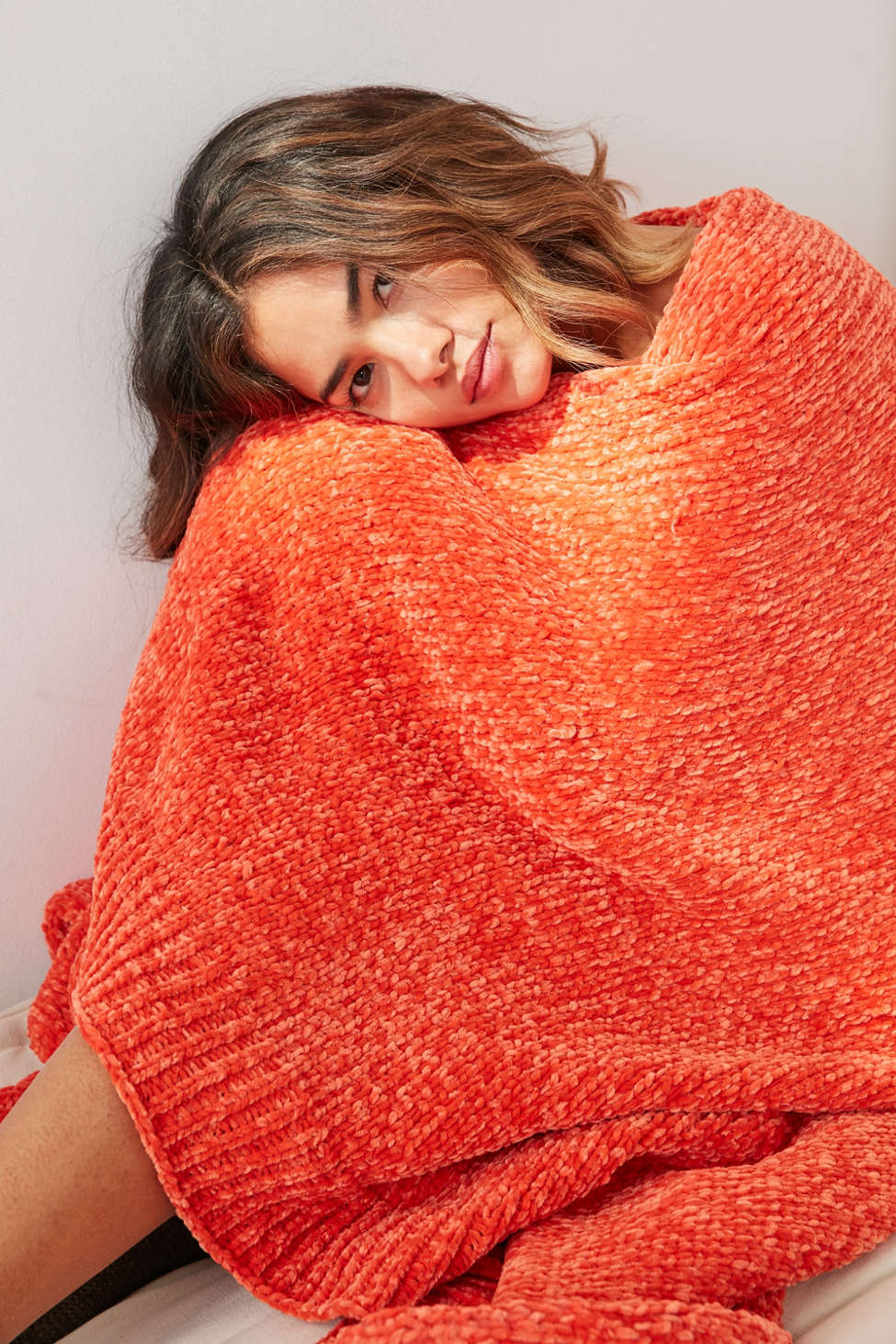 Slide View: 1: Chenille Sweater Throw Blanket