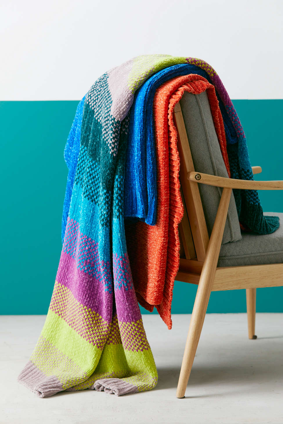 Slide View: 1: Chenille Sweater Throw Blanket