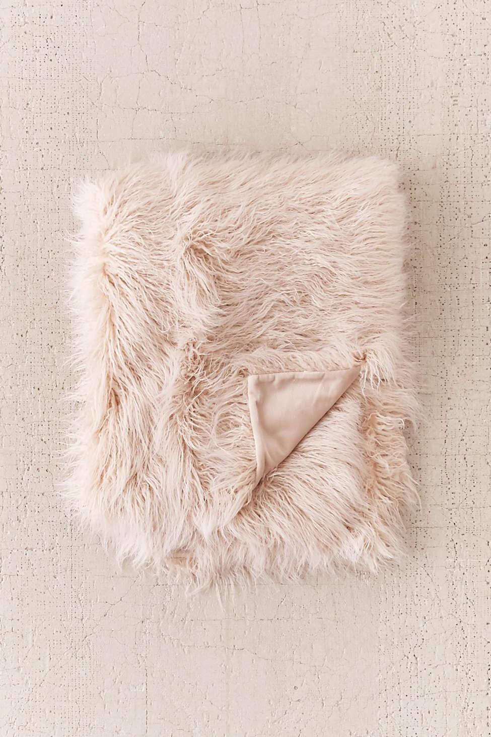 Slide View: 2: Marisa Tipped Faux Fur Throw Blanket