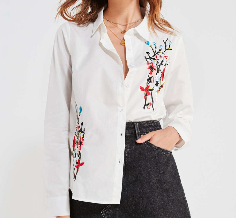 Slide View: 1: BDG Floral Embroidered Button-Down Shirt