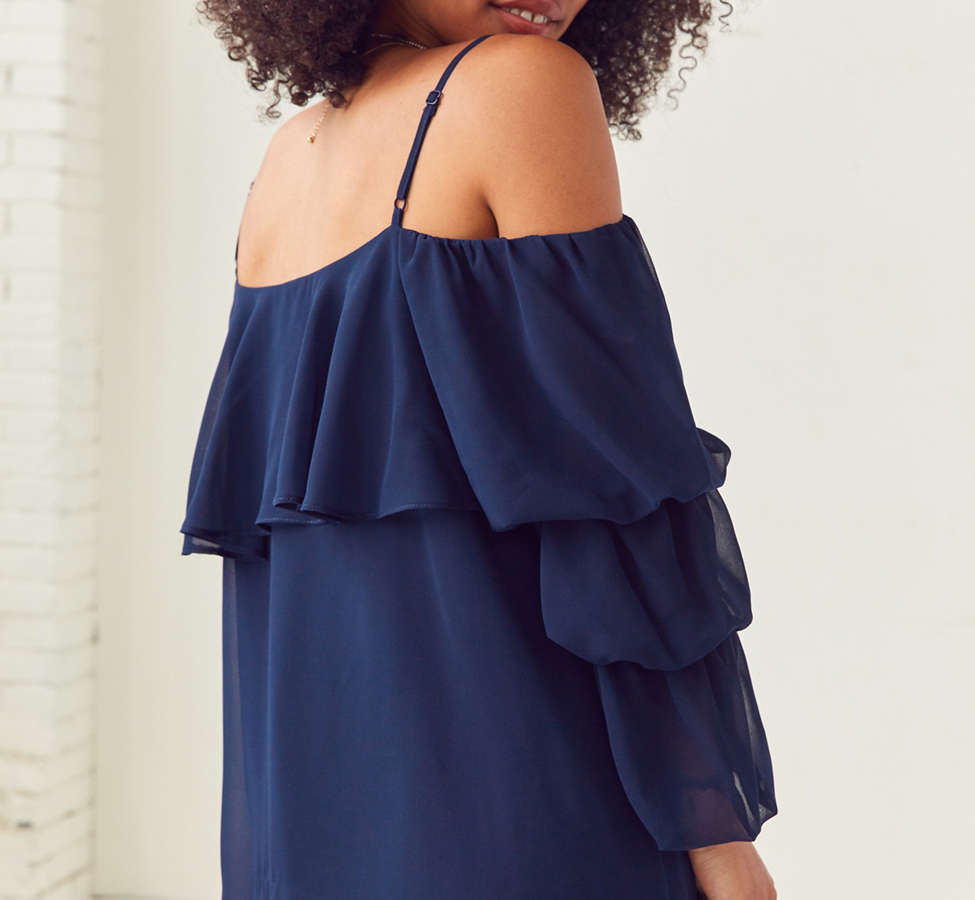 Slide View: 2: Lucca Couture Katie Cold-Shoulder Ruffle Sleeve Dress