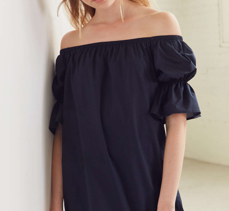 Slide View: 1: Lucca Couture Katherine Poplin Off-The-Shoulder Dress