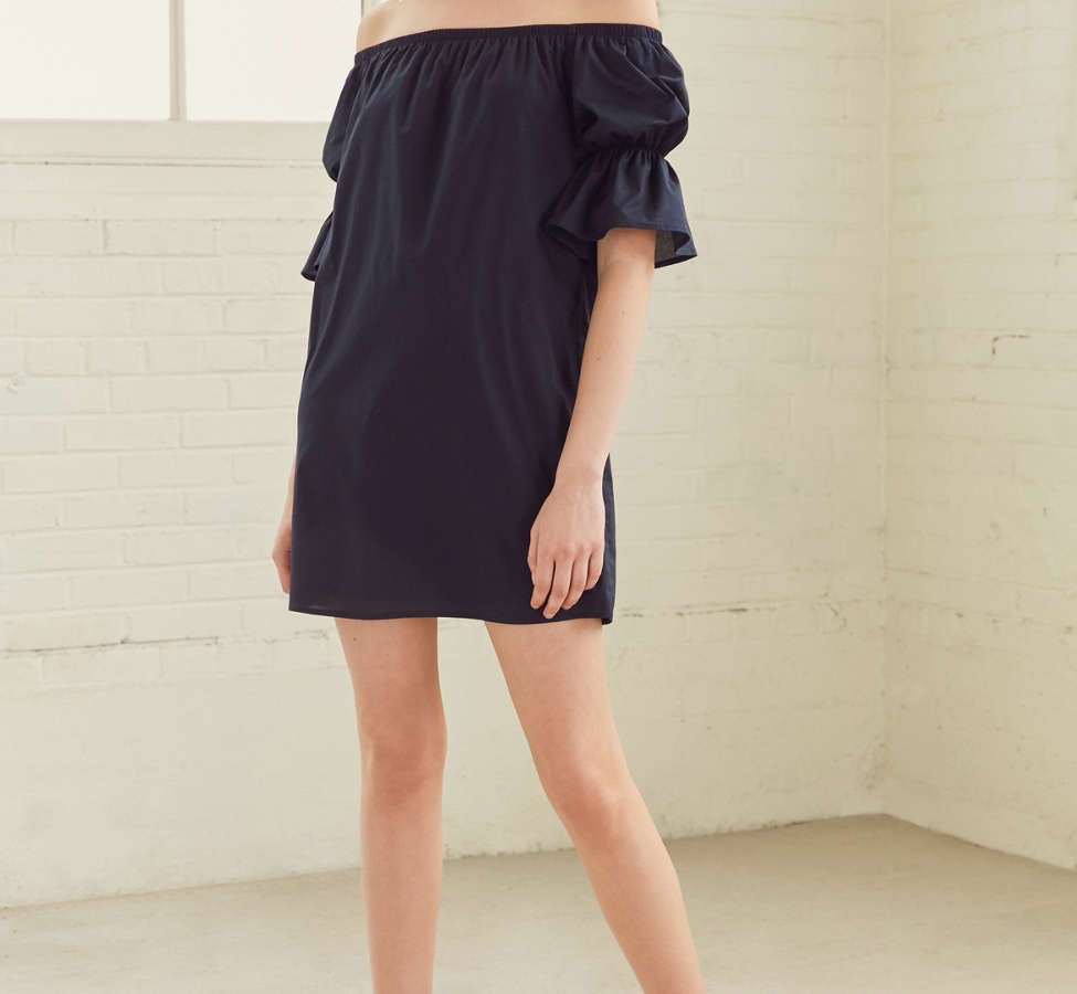 Slide View: 4: Lucca Couture Katherine Poplin Off-The-Shoulder Dress