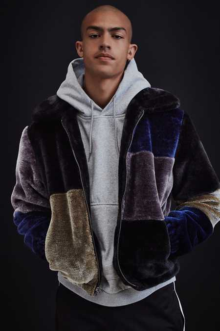 UO Patchwork Faux Fur Jacket