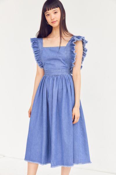 Kimchi Blue Denim Ruffle Apron Midi Dress