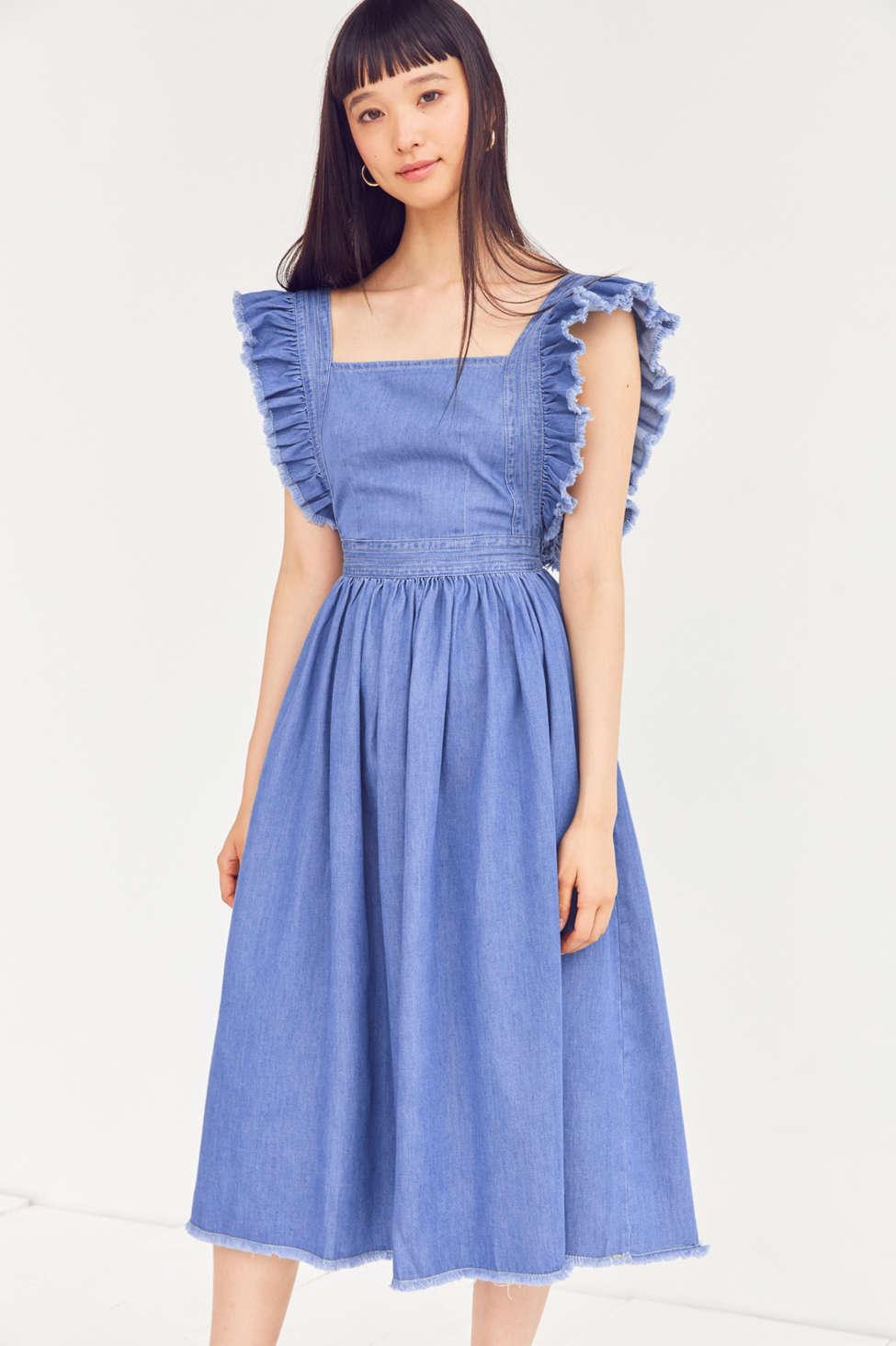 Kimchi Blue Denim Ruffle Apron Midi Dress | Urban Outfitters